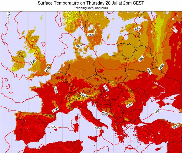 Hungary Surface Temperature on Monday 19 Aug at 2pm CEST map