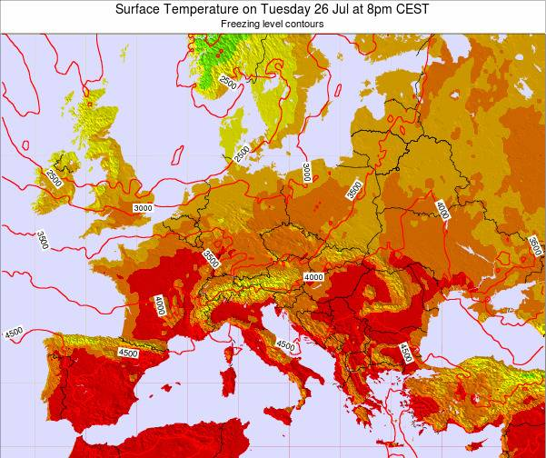 Austria Surface Temperature on Monday 20 May at 8pm CEST map