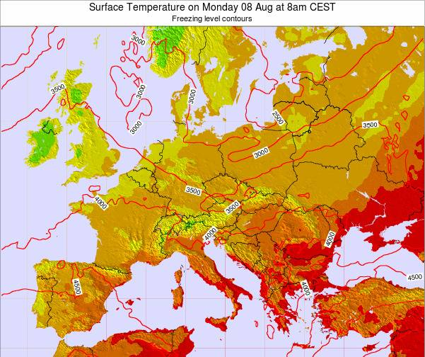 Hungary Surface Temperature on Friday 23 Aug at 8am CEST map
