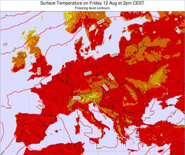 Austria Surface Temperature on Sunday 23 Jun at 2pm CEST map