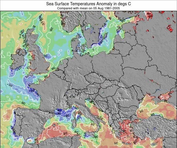 Slovenia Anomalia na Temperatura da Superfície do Oceano Mapa