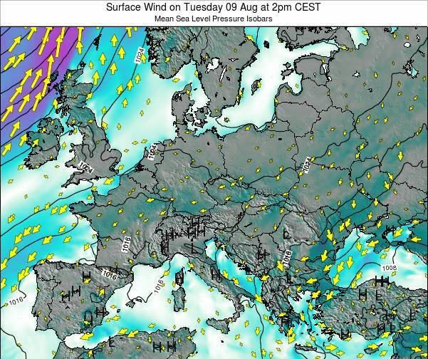 Croatia Surface Wind on Sunday 24 Sep at 2pm CEST