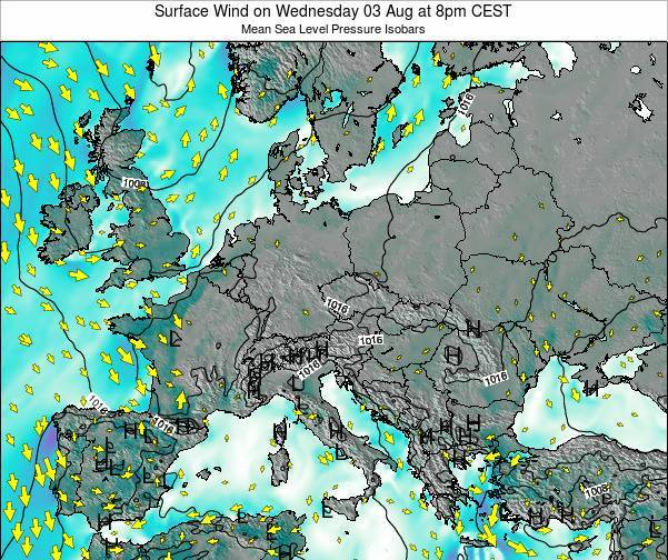 Austria Surface Wind on Wednesday 29 May at 8pm CEST map