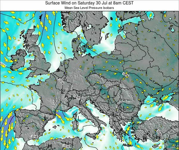 Croatia Surface Wind on Monday 27 Nov at 1am CET map