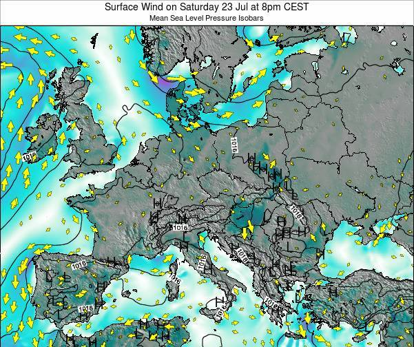 Croatia Surface Wind on Friday 24 May at 8pm CEST