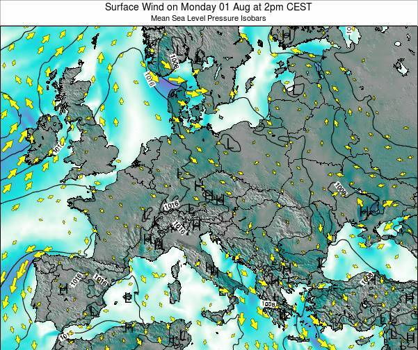 Croatia Surface Wind on Monday 22 Dec at 1am CET