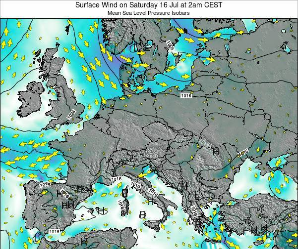 Croatia Surface Wind on Tuesday 11 Mar at 1pm CET