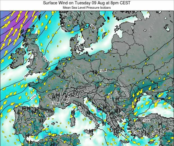 Austria Surface Wind on Saturday 22 Jun at 8pm CEST map