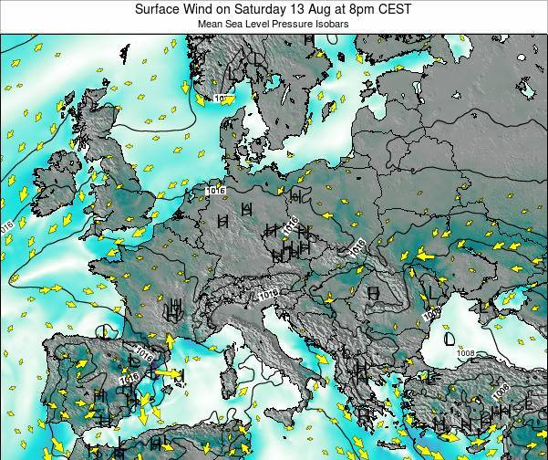 Croatia Surface Wind on Thursday 13 Mar at 1pm CET