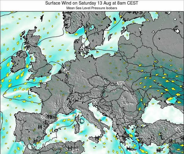Croatia Surface Wind on Thursday 30 Mar at 7am CET
