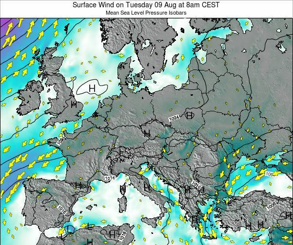 Croatia Surface Wind on Monday 21 Apr at 8am CEST