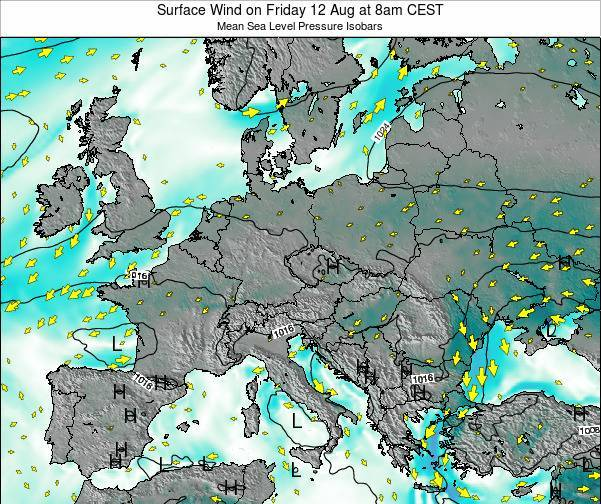 Croatia Surface Wind on Monday 28 Jul at 2pm CEST