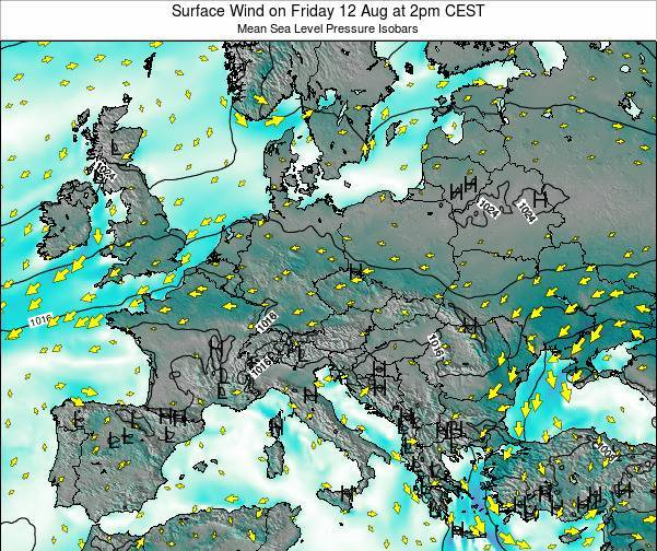 Croatia Surface Wind on Tuesday 05 Aug at 8pm CEST