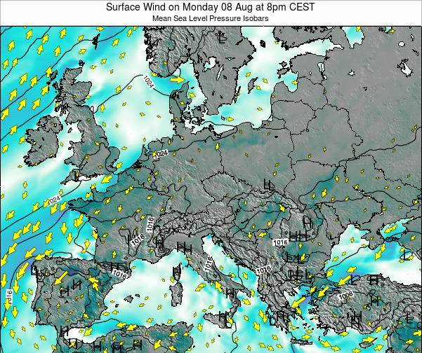 Croatia Surface Wind on Friday 28 Apr at 8am CEST