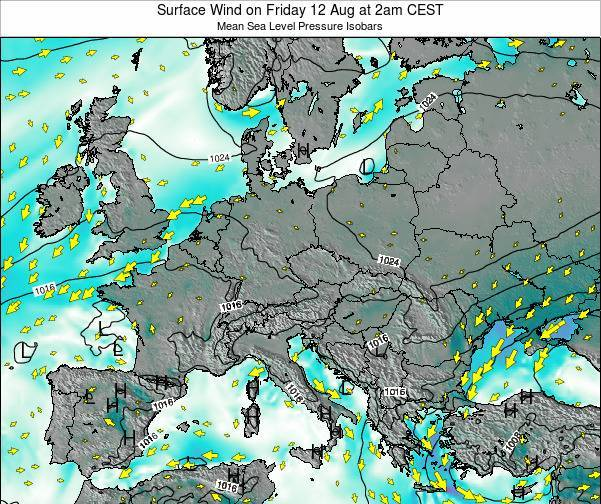 Croatia Surface Wind on Saturday 15 Mar at 7pm CET