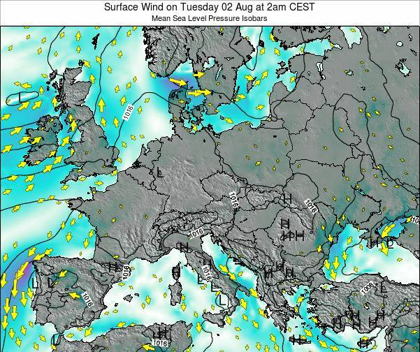 Croatia Surface Wind on Tuesday 29 Apr at 2pm CEST
