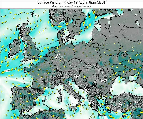 Croatia Surface Wind on Thursday 24 Apr at 8pm CEST
