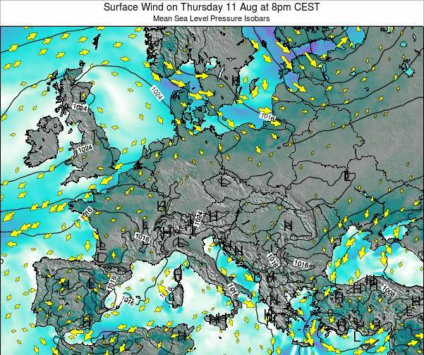 Croatia Surface Wind on Monday 28 Apr at 8pm CEST