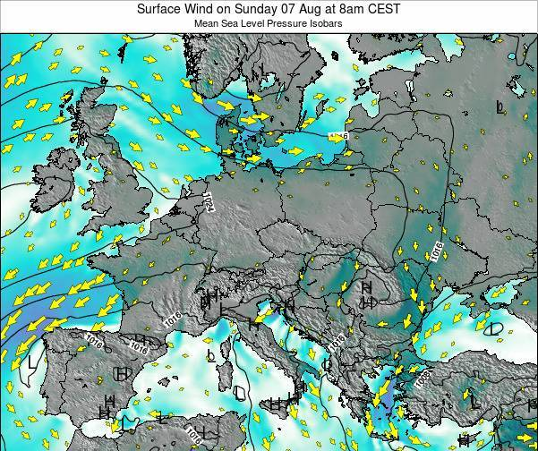 Croatia Surface Wind on Wednesday 23 Apr at 8pm CEST