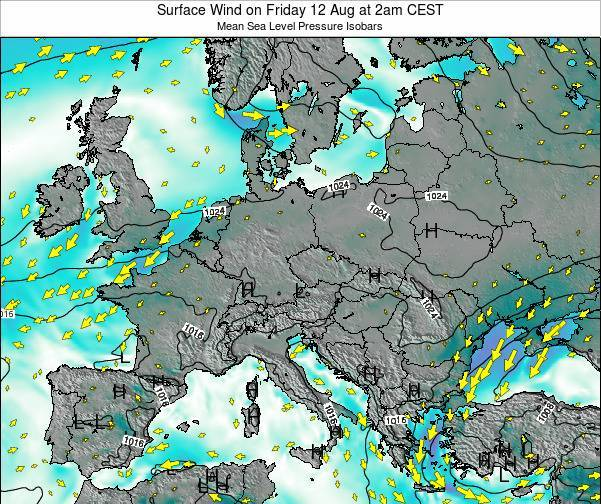 Croatia Surface Wind on Tuesday 05 Aug at 2pm CEST