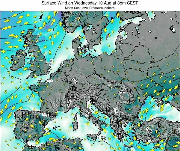 Croatia Surface Wind on Sunday 26 Nov at 1pm CET map