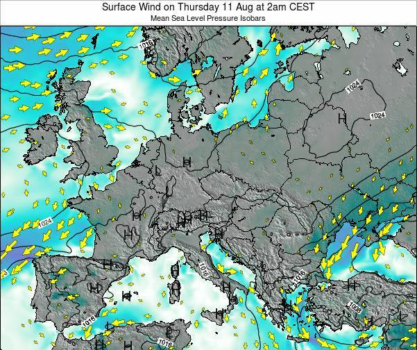 Austria Surface Wind on Tuesday 25 Jun at 8pm CEST map