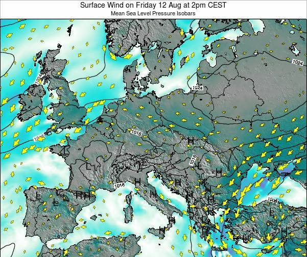 Hungary Surface Wind on Sunday 26 May at 2pm CEST map