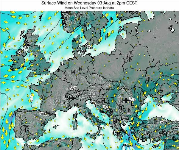Croatia Surface Wind on Saturday 16 Dec at 7pm CET map
