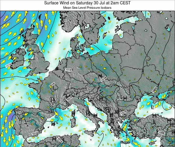 Croatia Surface Wind on Wednesday 25 Dec at 7pm CET