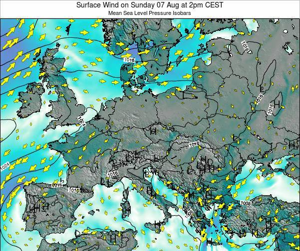 Croatia Surface Wind on Monday 02 Feb at 1pm CET