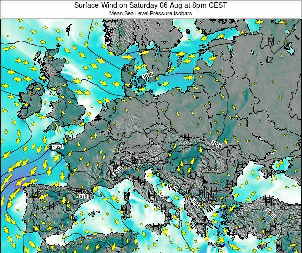 Croatia Surface Wind on Wednesday 30 Apr at 8pm CEST