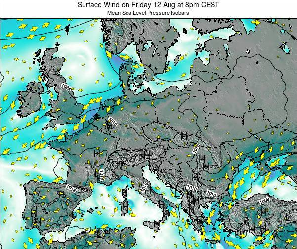Croatia Surface Wind on Friday 25 Apr at 2am CEST