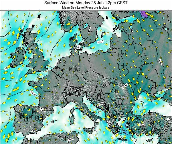 Croatia Surface Wind on Thursday 19 Dec at 1am CET