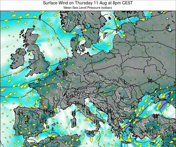 Croatia Surface Wind on Saturday 06 Aug at 2pm CEST