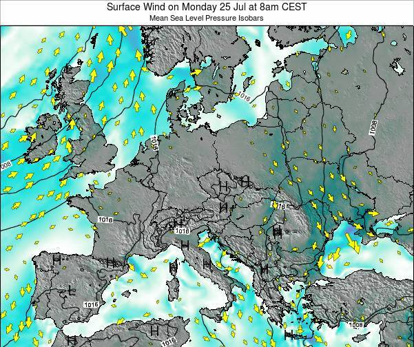 Croatia Surface Wind on Monday 04 Aug at 8am CEST