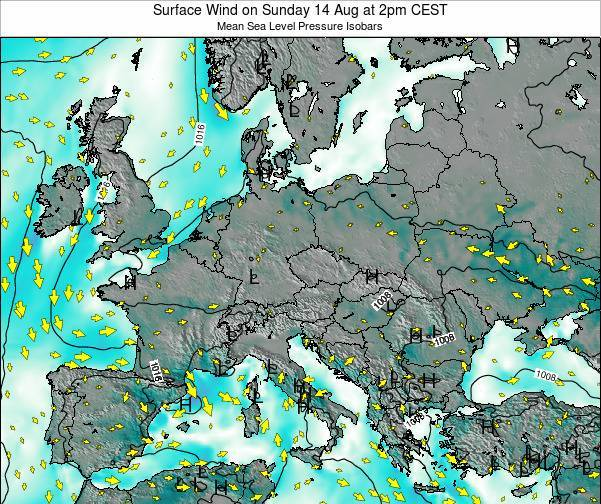 Croatia Surface Wind on Saturday 26 Jan at 7pm CET map