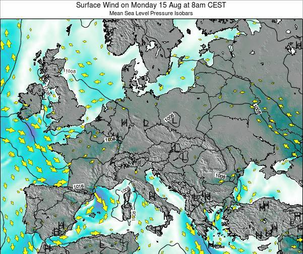 Hungary Surface Wind on Monday 24 Jun at 8pm CEST map