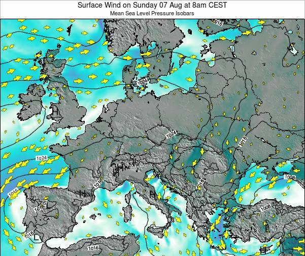 Croatia Surface Wind on Friday 22 Jun at 8pm CEST map