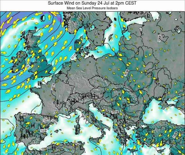 Croatia Surface Wind on Friday 21 Sep at 2am CEST map