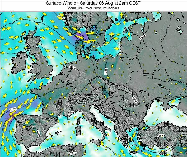 Croatia Surface Wind on Thursday 21 Sep at 2am CEST