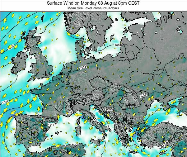 Kosovo Surface Wind on Saturday 25 May at 2am CEST map