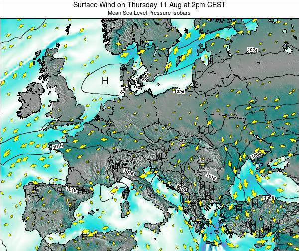 Austria Surface Wind on Friday 21 Jun at 8am CEST map