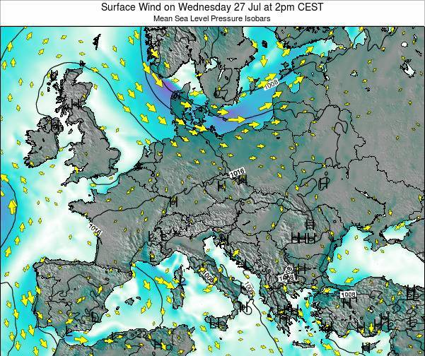 Croatia Surface Wind on Saturday 24 Mar at 1pm CET map