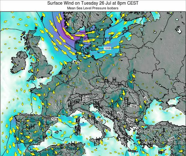 Croatia Surface Wind on Thursday 31 Jul at 2pm CEST