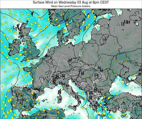 Hungary Surface Wind on Thursday 13 Dec at 7am CET map