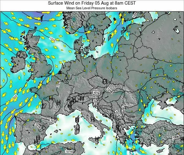 Austria Surface Wind on Tuesday 28 May at 8am CEST map