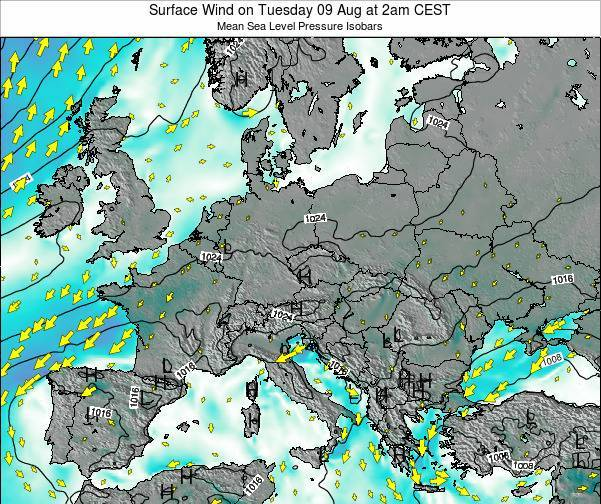 Croatia Surface Wind on Monday 17 Dec at 7pm CET map