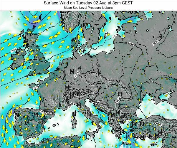 Hungary Surface Wind on Sunday 26 May at 8pm CEST map