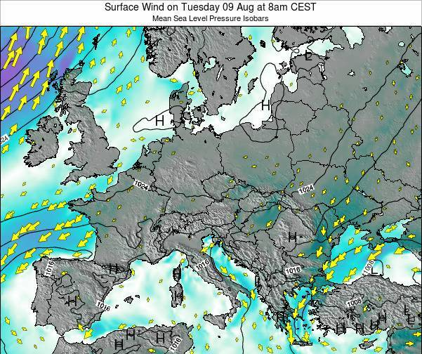 Croatia Surface Wind on Thursday 13 Mar at 1am CET