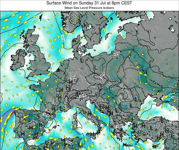 Croatia Surface Wind on Friday 23 Mar at 1am CET map